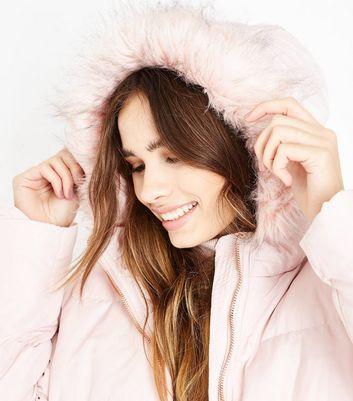 Pink Vanilla Pink Faux Fur Trim Hooded Coat New Look