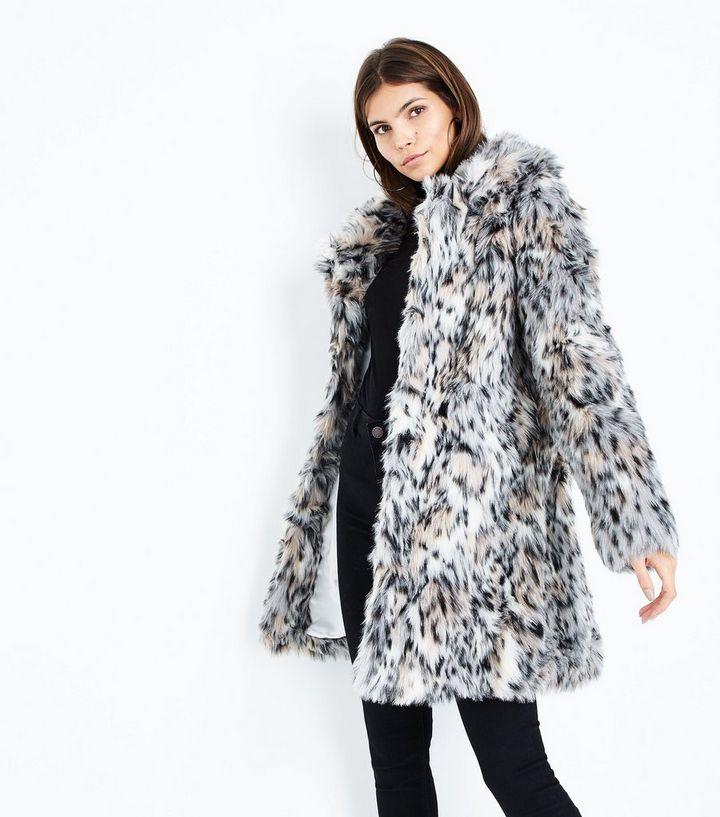 22fcbca99962 Blue Vanilla White Leopard Print Faux Fur Coat | New Look