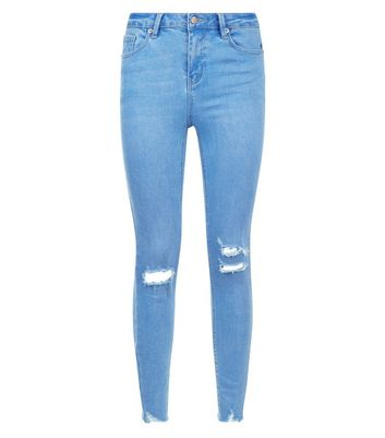 Light Blue Ripped Skinny Raw Hem Jeans New Look