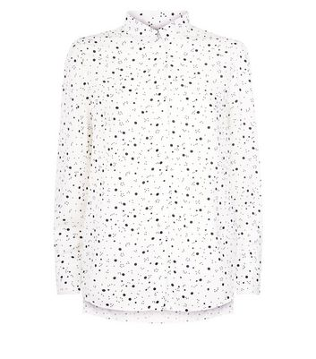 White Spot Print Step Hem Shirt New Look