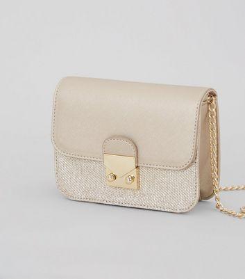 Gold Glitter Panel Mini Cross Body Bag New Look