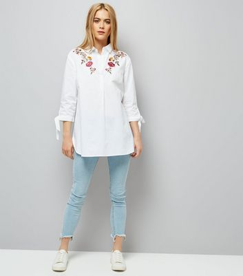 White Floral Embroidered Tie Sleeve Shirt New Look