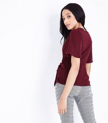 Burgundy V Neck Wide Sleeve Wrap Top New Look