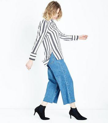 White Stripe Step Hem Shirt New Look