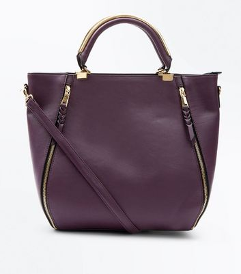 Purple Zip Side Metal Handle Tote Bag New Look