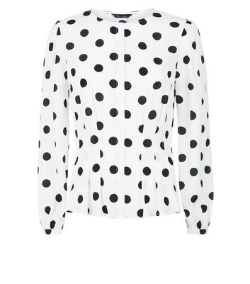 White Polka Dot Pleated Waist Blouse New Look