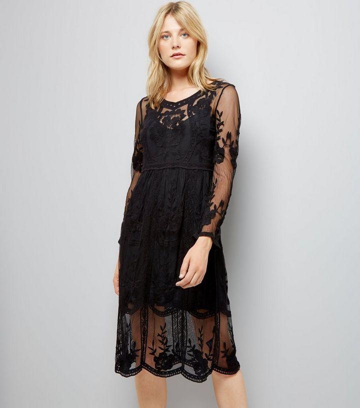dbde85c807 Black Crochet Lace Midi Skater Dress