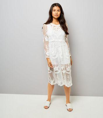 White Crochet Lace Midi Skater Dress New Look