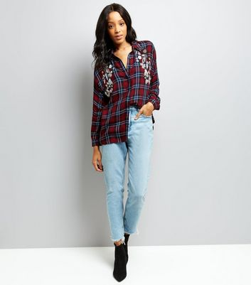 Red Check Floral Beaded Shirt New Look