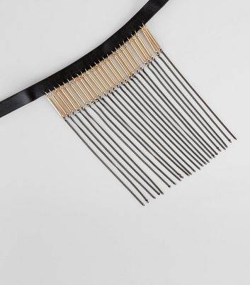 Black Tassel Drop Chain Choker New Look