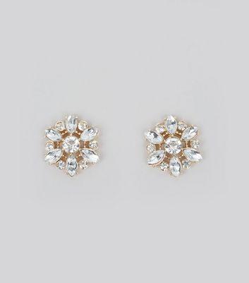 Gold Floral Crystal Embellished Stud Earrings New Look