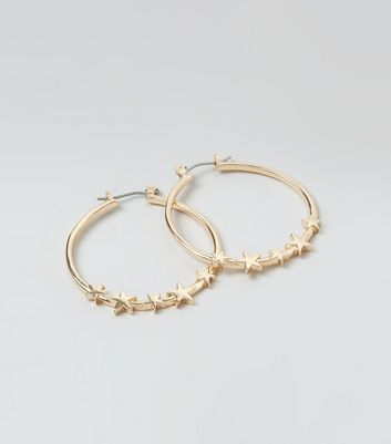 Gold Star Hoop Earrings New Look