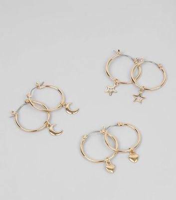 3 Pack Gold Charm Mini Hoop Earrings New Look