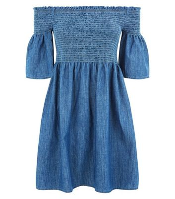 Blue Denim Shirred Bardot Neck Dress New Look