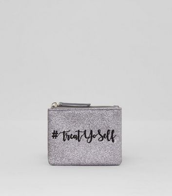 Silver Glitter Treat Yourself Embroidered Purse New Look