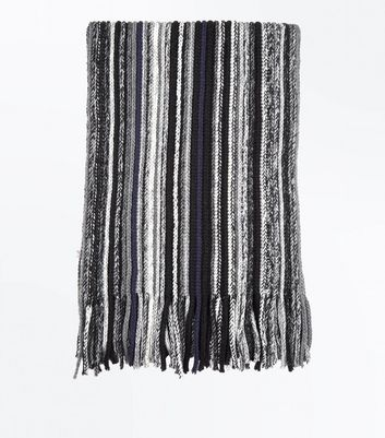 Black Stripe Scarf New Look