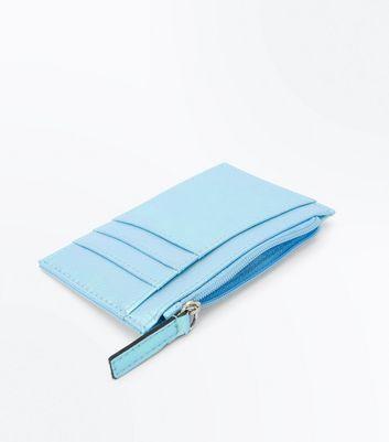 Pale Blue Iridescent Zip Top Cardholder New Look