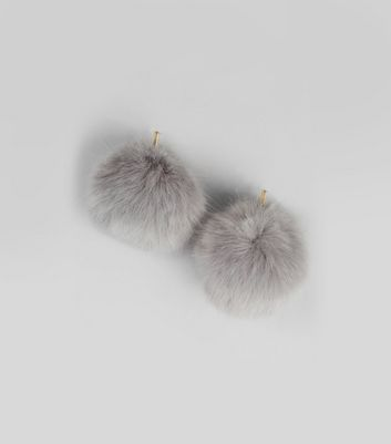 Grey Faux Fur Pom Earrings New Look