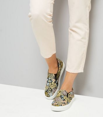 Black Floral Brocade Slip On Plimsolls New Look