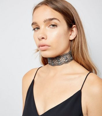 Silver Metallic Floral Lace Choker New Look