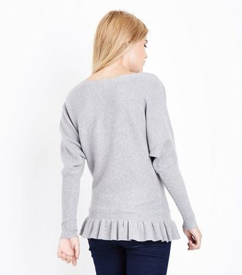 Blue Vanilla Grey Frill Hem Batwing Jumper New Look