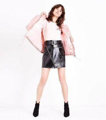 Blue Vanilla Pink Satin Hooded Puffer Jacket New Look