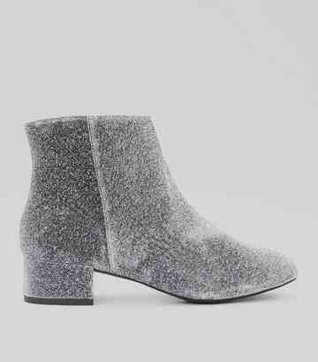 Wide Fit Silver Glitter Block Heel Ankle Boots