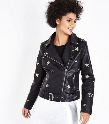 Pink Vanilla Black Star Embroidered Biker Jacket New Look