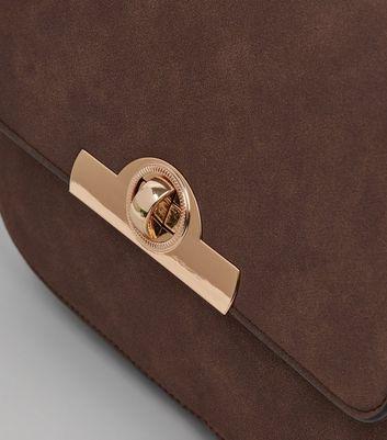 Brown Twist Lock Saddle Bag New Look