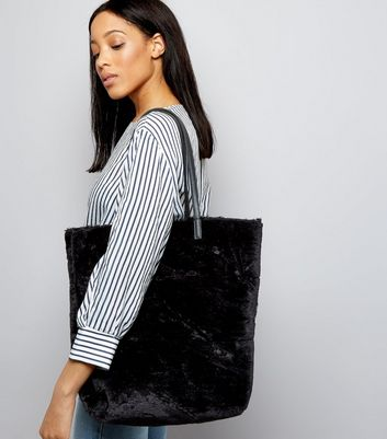Black Faux Fur Oversized Tote Bag New Look