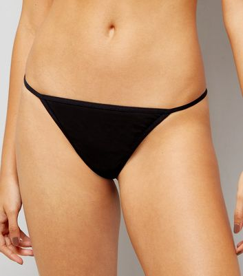 3 Pack Pink  Black and Leopard Thongs New Look