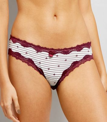 3 Pack Heart Stripe Brazilian Briefs New Look