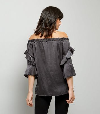Blue Vanilla Grey Satin Frill Sleeve Bardot Neck Top New Look