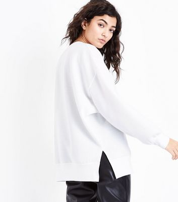 Cream Gathered Sleeve Sweater New Look