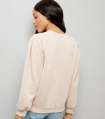 Pink Gathered Sleeve Sweater New Look