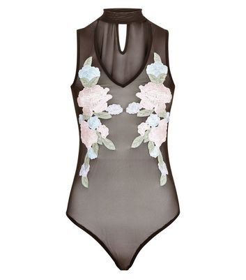 Black Floral Embroidered Choker Mesh Bodysuit New Look