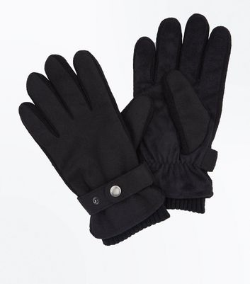 Black Strap Detail Gloves New Look