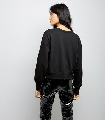 Black Cropped Sweatshirt New Look