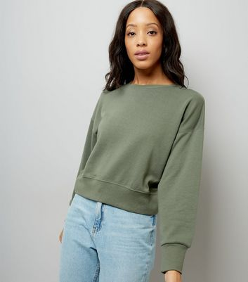 Khaki Cropped Sweatshirt New Look