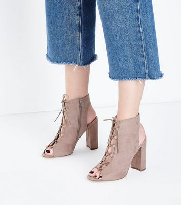 Grey Suedette Lace Up Peep Toe Heels New Look