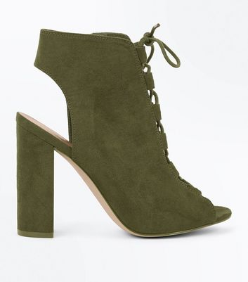 Khaki Suedette Lace Up Peep Toe Heels New Look