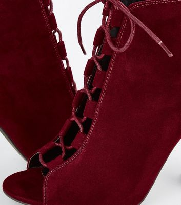 Burgundy Suedette Lace Up Peep Toe Heels New Look