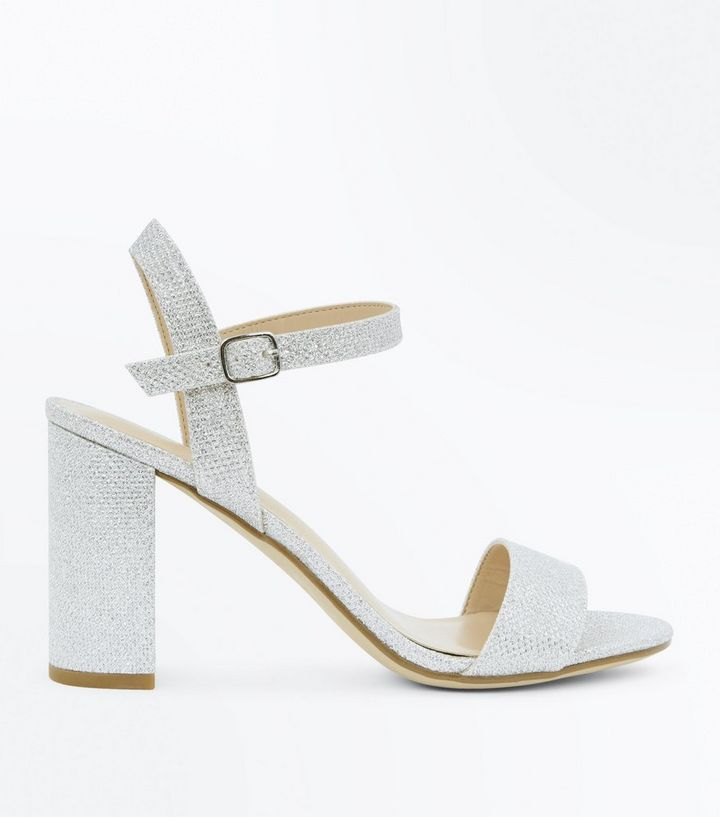6ae291401e3a Silver Glitter Block Heel Sandals