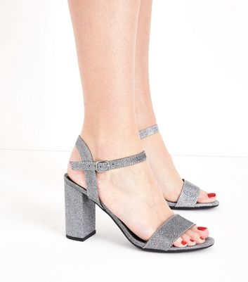 Pewter Glitter Block Heel Sandals New Look