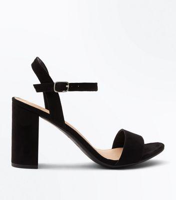 Black Suedette Block Heel Sandals | New