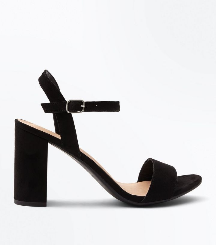 15b7d665c9a Black Suedette Block Heel Sandals Add to Saved Items Remove from Saved Items