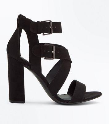 Black Suedette Block Heel Strappy Sandals New Look