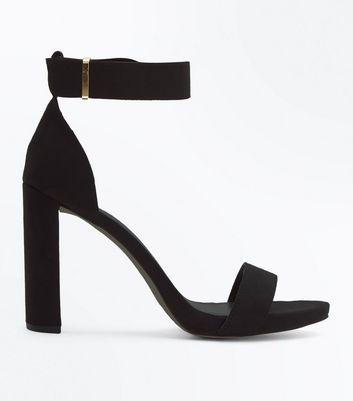 Black Suedette Metal Trim Block Heel Sandals New Look