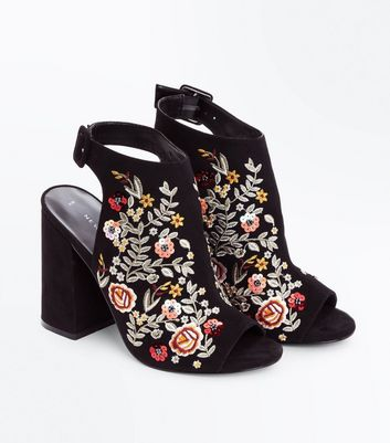 Black Suedette Floral Embroidered Peep Toe Heels New Look