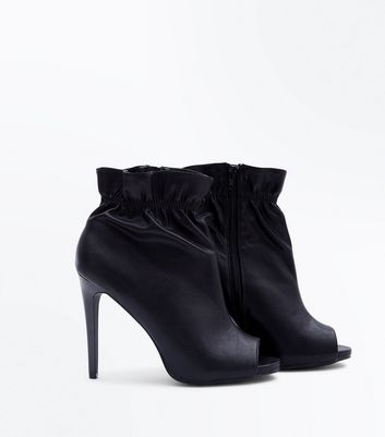 Black Elasticated Ankle Stiletto Peep Toes New Look
